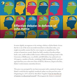 Effective debate: in defence of John Hattie
