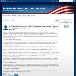 6 Effective Ways to Gain Expertise in Cost of Capital - McDonald Pontiac Cadillac GMC