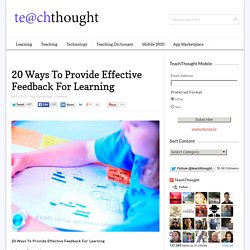 20 Ways To Provide Effective Feedback For Learning -