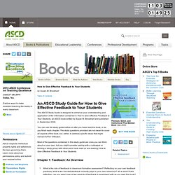 An ASCD Study Guide for How to Give Effective Feedback to Your Students