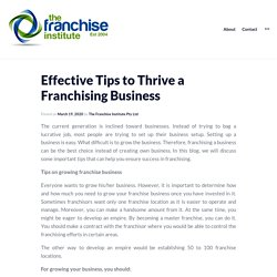Effective Tips to Thrive a Franchising Business