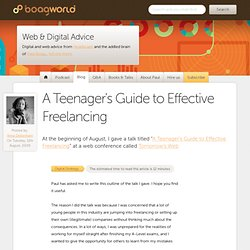 A Teenager's Guide to Effective Freelancing « Boagworld