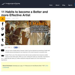 11 Habits to become a Better and more Effective Artist — Fundamentals of Painting