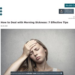 How to Deal with Morning Sickness: 7 Effective Tips - healthcorner