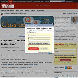 "Response: ""Ten Elements Of Effective Instruction"" - Classroom Q&A With Larry Ferlazzo"
