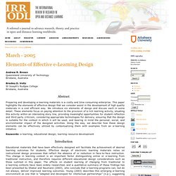 Elements of Effective e-Learning Design