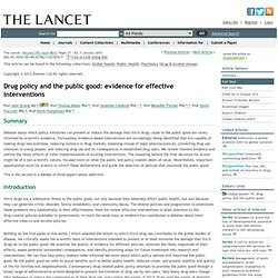 Drug policy and the public good: evidence for effective interventions