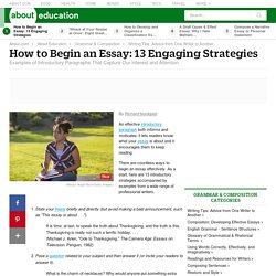 Thirteen Ways to Begin an Essay: How to Compose an Effective Introduction