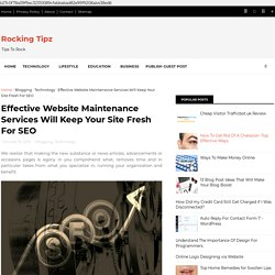 Effective Website Maintenance Services Will Keep Your Site Fresh For SEO - Rocking Tipz