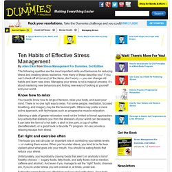 Ten Habits of Effective Stress Management