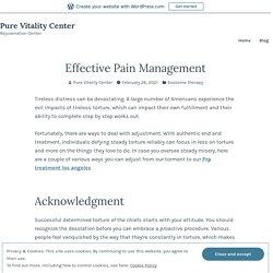 Effective Pain Management – Pure Vitality Center