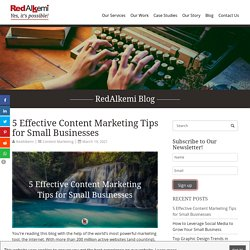 5 Effective Content Marketing Tips for Small Businesses - RedAlkemi