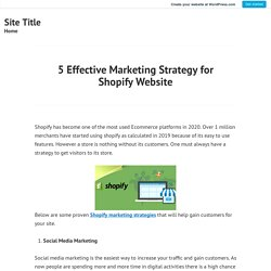 Effective Marketing Strategy for Shopify Website