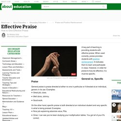 Effective Praise - How to Give Effective Praise
