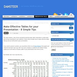 Make Effective Tables for your Presentation – 8 Simple Tips
