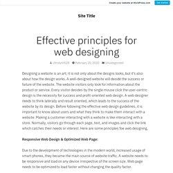 Effective principles for web designing