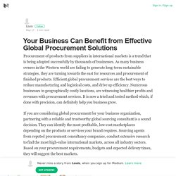 Benefits of global procurement services