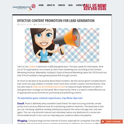 Effective Content Promotion for Lead Generation