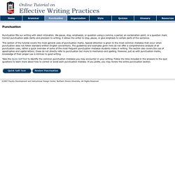 Effective Writing Practices Tutorial - Punctuation