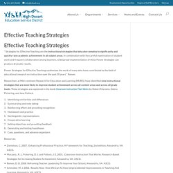 Effective Teaching Strategies – High Desert Education Service District