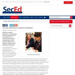 Giving effective student feedback