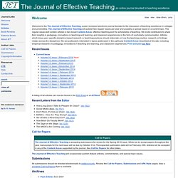 The Journal of Effective Teaching - an online journal devoted to teaching excellence