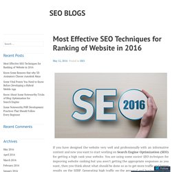 Effective SEO Techniques for Ranking of Website in 2016