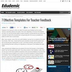7 Effective Templates For Teacher Feedback