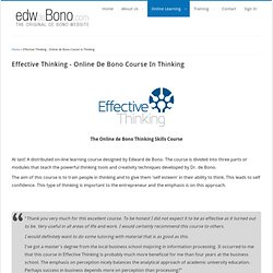 Effective Thinking Skills Course - The Edward de Bono online course in Thinking