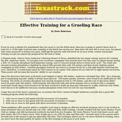 Effective Training for a Grueling Race