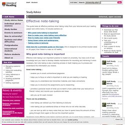 Effective note-taking - University of Reading