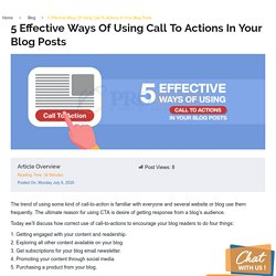 5 Effective Ways Of Using Call To Actions In Your Blog Posts