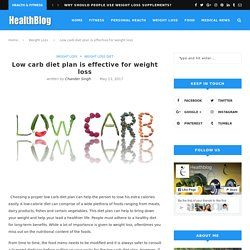 Low carb diet plan is effective for weight loss