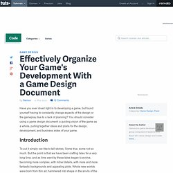 Effectively Organize Your Game's Development With a Game Design Document