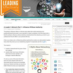 A Leader's Network Part 1: Influence Without Authority - Leading Effectively: Official Blog of the Center for Creative LeadershipLeading Effectively: Official Blog of the Center for Creative Leadership