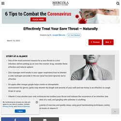 Effectively Treat Your Sore Throat - Naturally