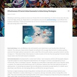 Effectiveness Of Aerial Advertisements In Advertising Strategies