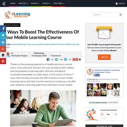 7 Ways To Boost The Effectiveness Of Your Mobile Learning Course