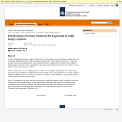 RIVM 29/10/12 Effectiveness of control measures for Legionella in water supply systems (rapport complet uniquement disponible en