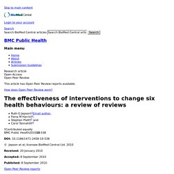 The effectiveness of interventions to change six health behaviours: a review of reviews