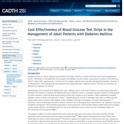 Cost-Effectiveness of Blood Glucose Test Strips in the Management of Adult Patients with Diabetes Mellitus