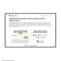 Sales - Marketing Automation Drives B2B Lead Gen Effectiveness