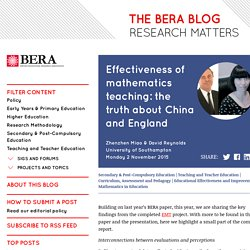 Effectiveness of mathematics teaching: the truth about China and England