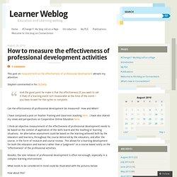 How to measure the effectiveness of professional development activities