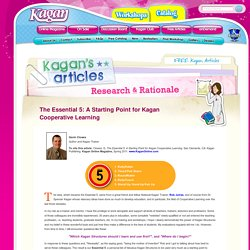 Research & Rationale - Anderson County Teachers Excel with Kagan