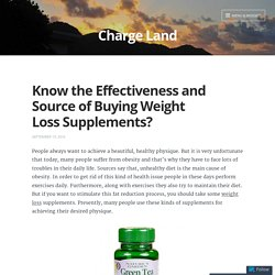 Know the Effectiveness and Source of Buying Weight Loss Supplements?