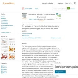 International Journal of Sustainable Built Environment Volume 6, Issue 2, December 2017, An analysis of the cost-effectiveness of arsenic mitigation technologies: Implications for public policy