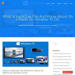 What Is Hxtsr.Exe File And Know About Its Effects On Window 10 OS