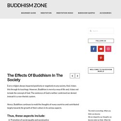 The Effects Of Buddhism In The Society - Buddhism Zone