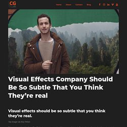 Visual Effects Company (VFX Animation Company) Should Be So Subtle That You Think They're real